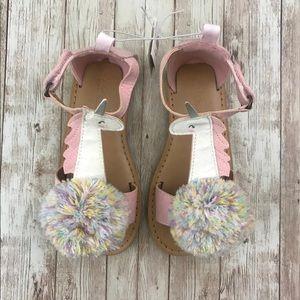NWT Unicorn Pom Pom Sandals